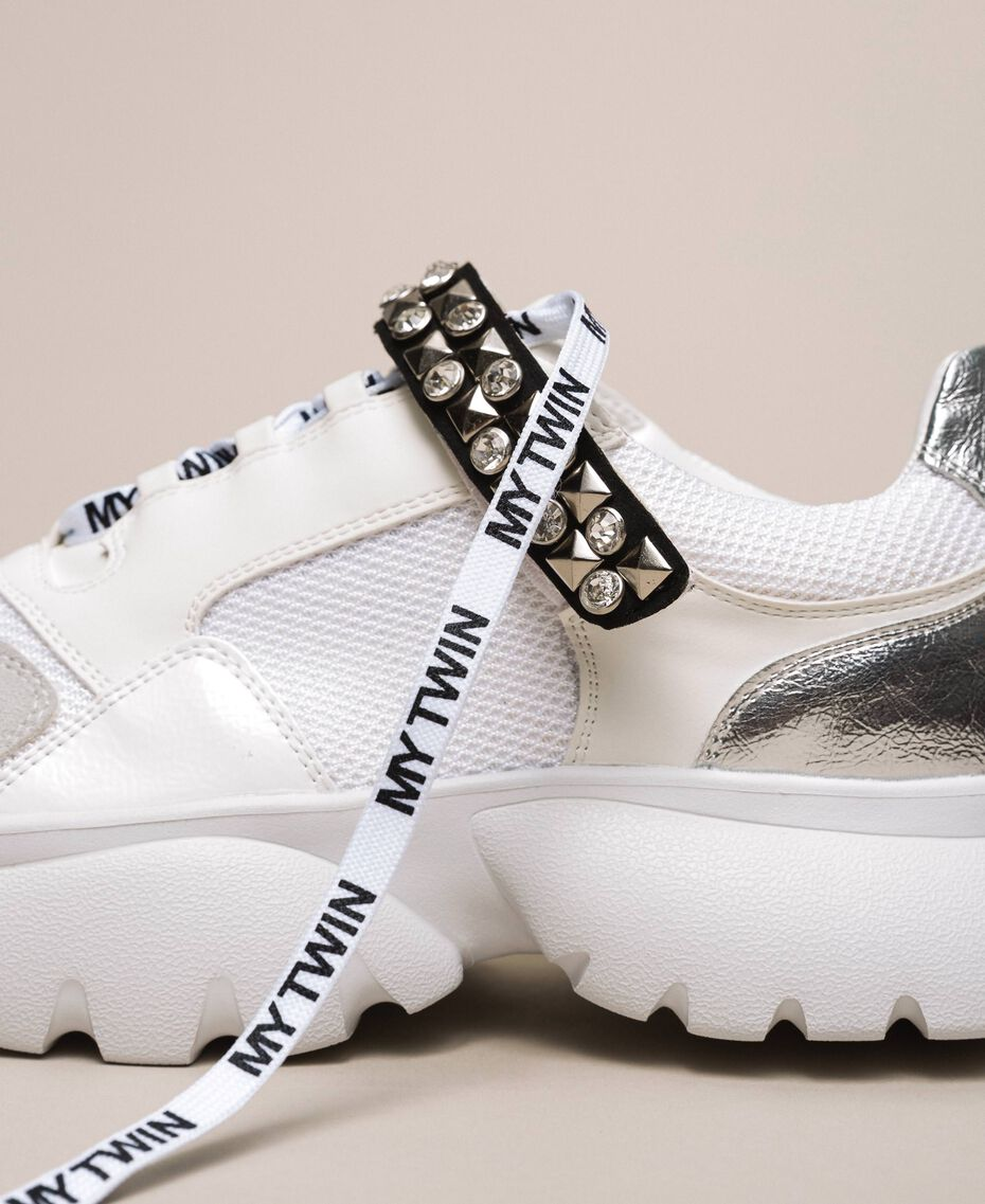 Running shoes with jewel detail Vanilla White Woman 201MCP092-02