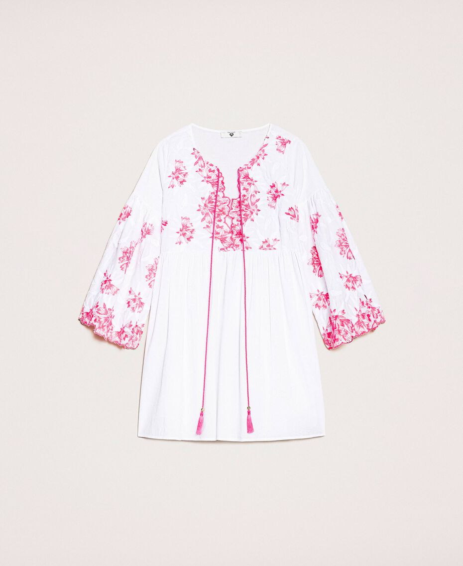 Kaftan with two-tone embroidery Two-tone Shocking Pink / Optical White Woman 201LM2NBB-0S