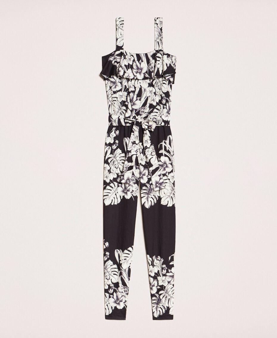 Poplin floral jumpsuit Black Graphical Flower Print Woman 201TT2314-0S