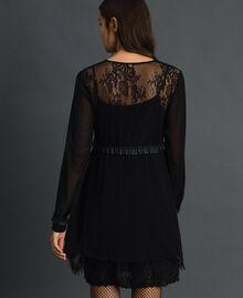 Robe en crêpe georgette et dentelle Noir Femme 192MT2080-02