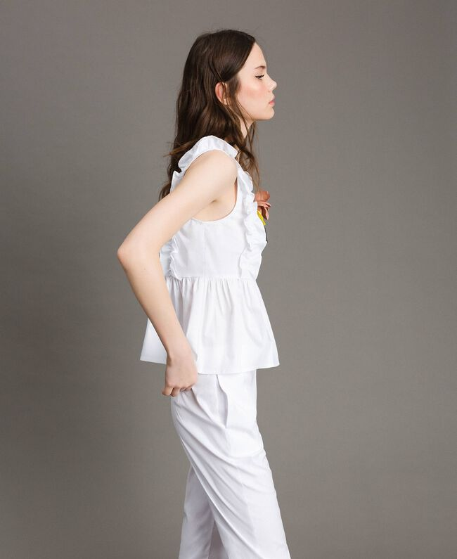 Poplin top with ruches and brooch White Woman 191MT2051-03