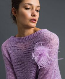 "Short wool and mohair dress with brooch ""Wisteria"" Pink / Purple Woman 192ST3090-04"