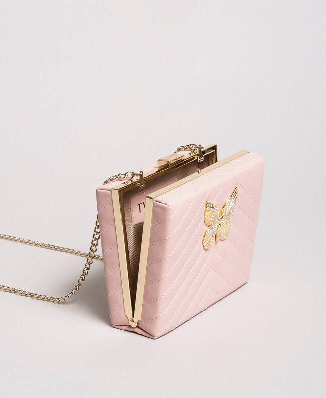 Matelassé leather clutch bag Pink Pearl Woman 191TA7196-01