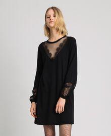 Robe avec dentelle et tulle plumetis Noir Femme 192TP3170-03