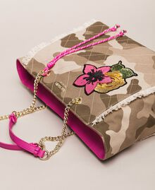 Canvas shopper with patch and fringes Camouflage Print / Wild Rose Woman 201MO8040-01