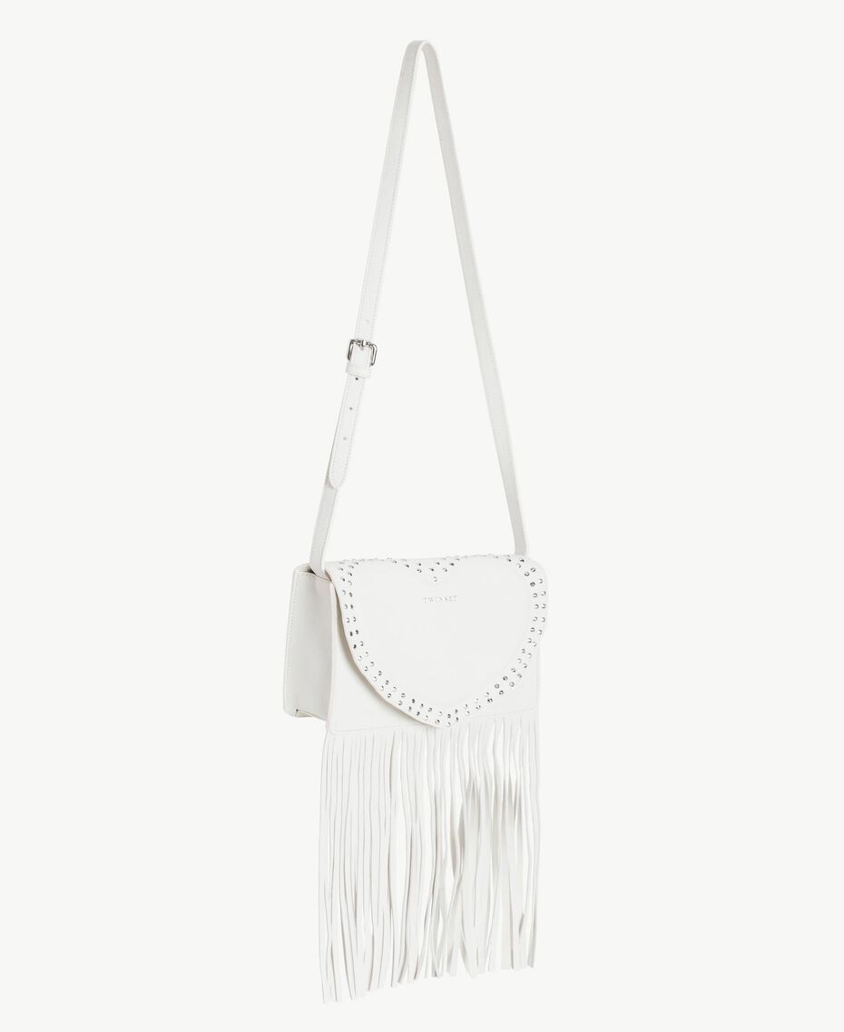 TWINSET Fringed shoulder bag Light Ivory Woman AS8PCA-02