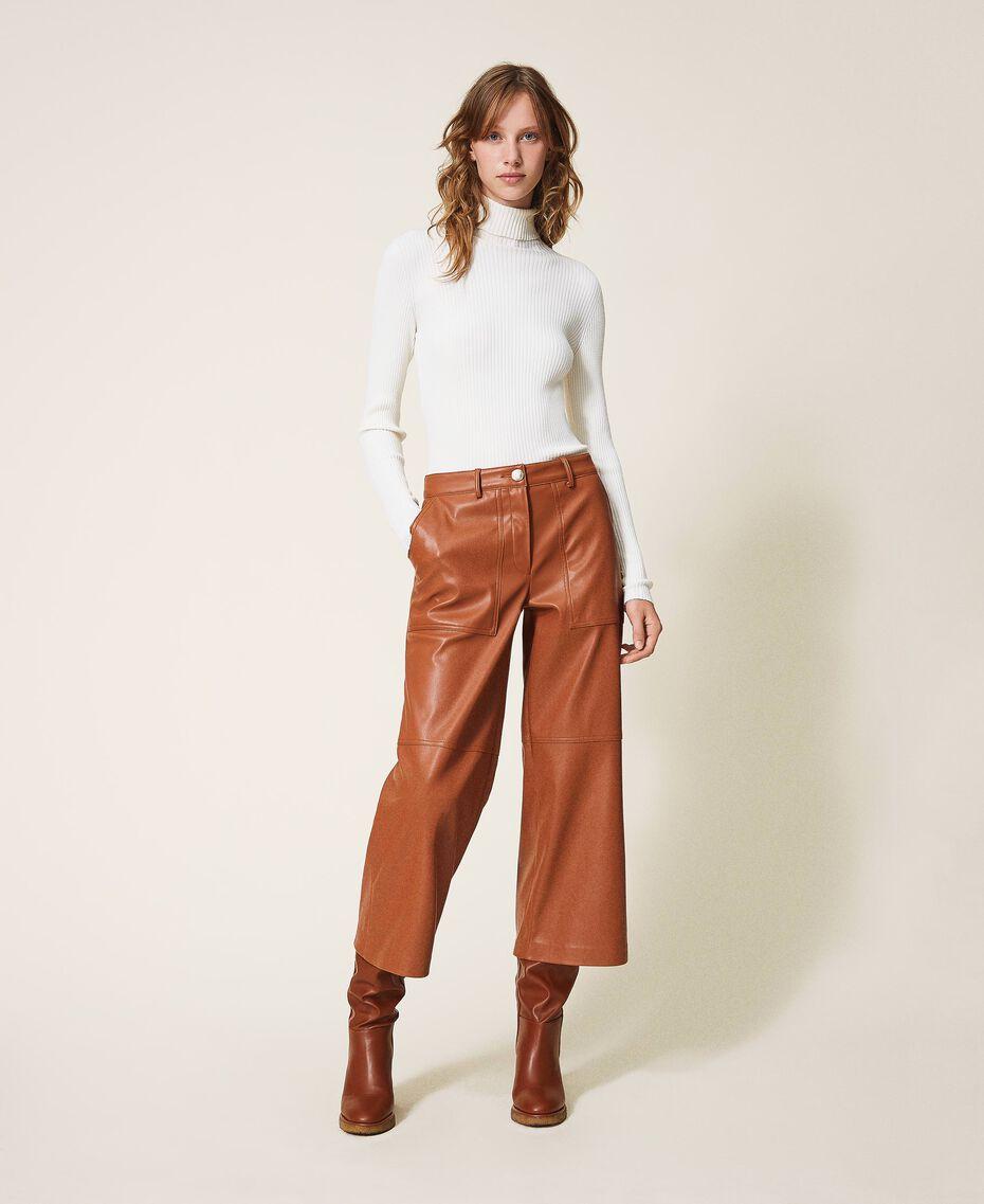 Укороченные брюки из искусственной кожи Синий Blackout женщина 202LI2GAA-01