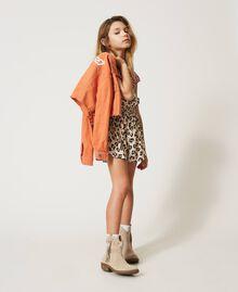 """Cropped bull jacket with logo """"Iceland Poppy"""" Orange Child 211GJ206B-0T"""