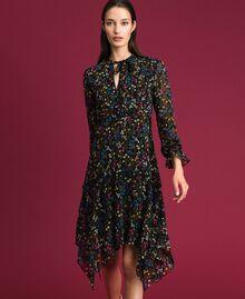 Asymmetrisches Kleid mit Blumenprint Mikroblumenprint Schwarz Frau 192MP2226-01