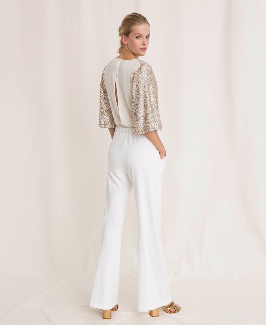 Jumpsuit with criss-cross and sequins Ivory Woman 201LB21CC-03