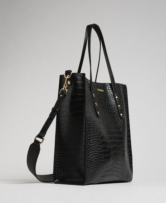 Crocodile print faux leather shopping bag