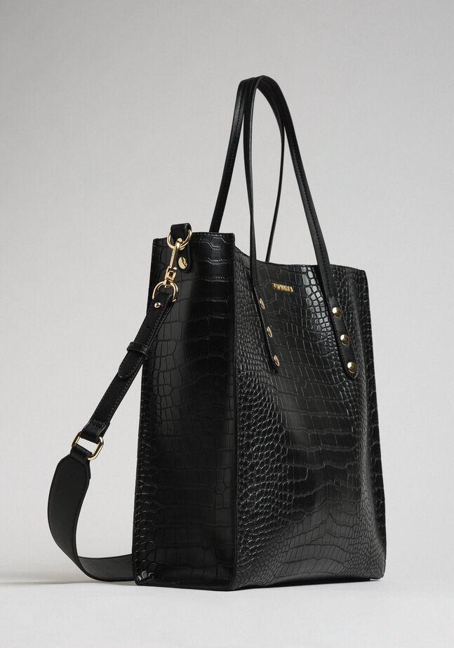 Crocodile print faux leather shopping bag