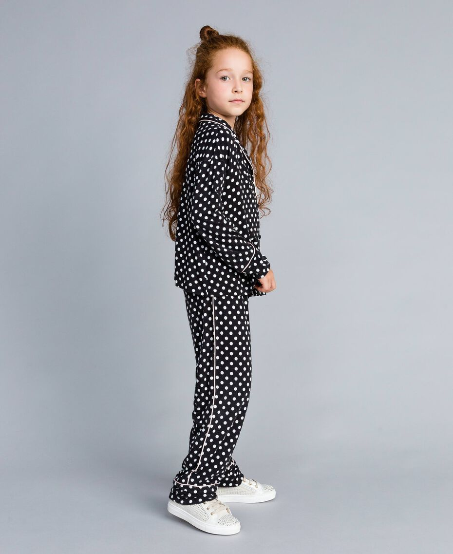 Polka dot viscose pyjamas Black / Off White Polka Dot Print Child GA828A-02
