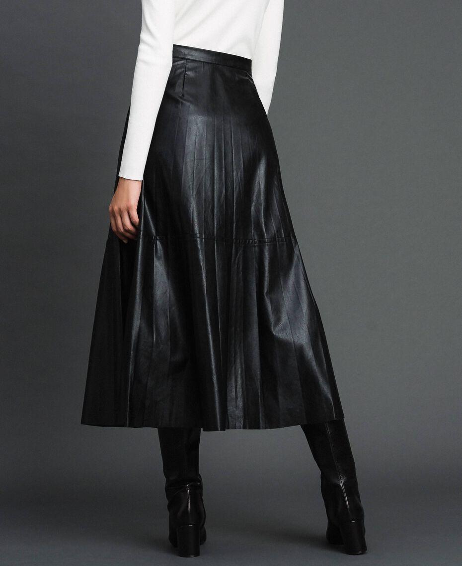 Jupe mi-longue en similicuir plissé Noir Femme 192ST2015-03