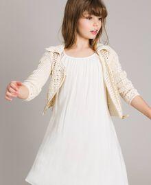 Crochet knitted biker jacket Pale Cream Child 191GJ3QK0-0S