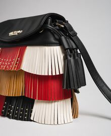 Faux leather bucket bag with fringes and studs Poppy Red / Saffron Yellow / Vanilla Woman 192MA7020-04