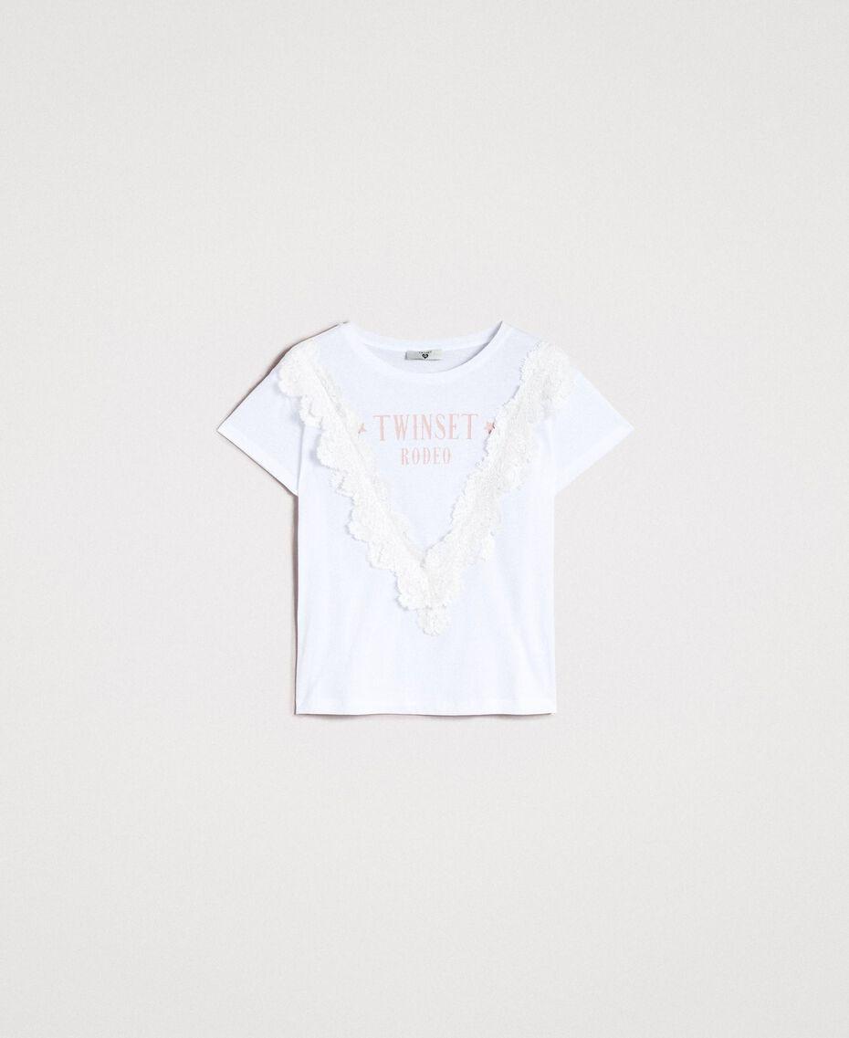T-Shirt mit Spitze Weiß Frau 191LB2CAA-0S