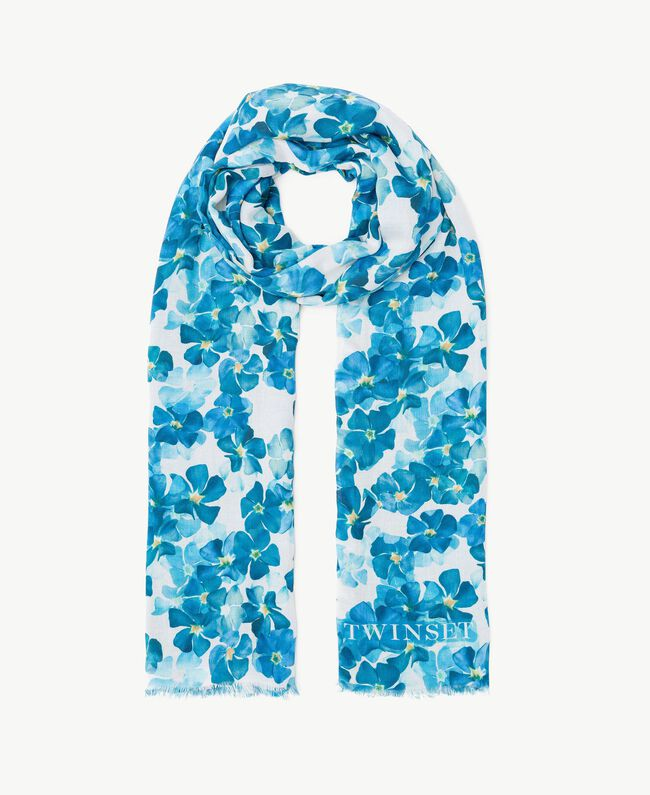 Flower scarf Turquoise / Oriental Blue Flower Print Woman AS8P4G-01
