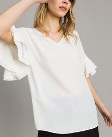 Bluse aus Seidenmischung Weiß Schnee Frau 191TT2075-01