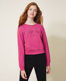 Sweatshirt with logo embroidery Dark Fuchsia Child 202GJ283A-01