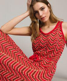 "Robe en maille de lurex Rouge ""Framboise"" Femme 191LM3KBB-02"
