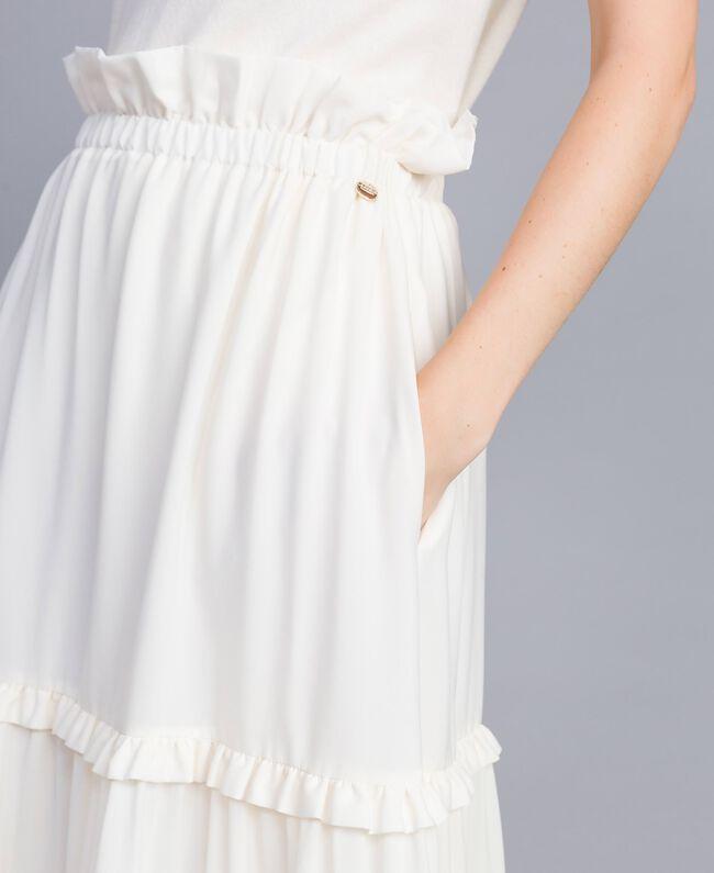 Crêpe de Chine long skirt Mother Of Pearl Woman SA82H7-04