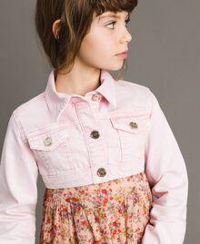 "Bull délavé cropped jacket ""Crystal Pink"" Child 191GJ2492-04"