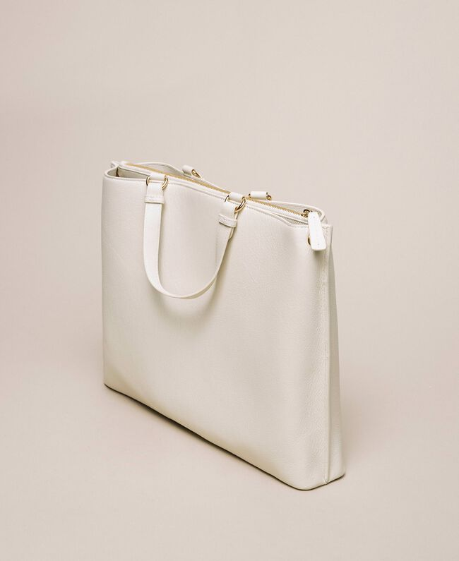 Large leather shopper with heart White Snow Woman 201TA7052-04