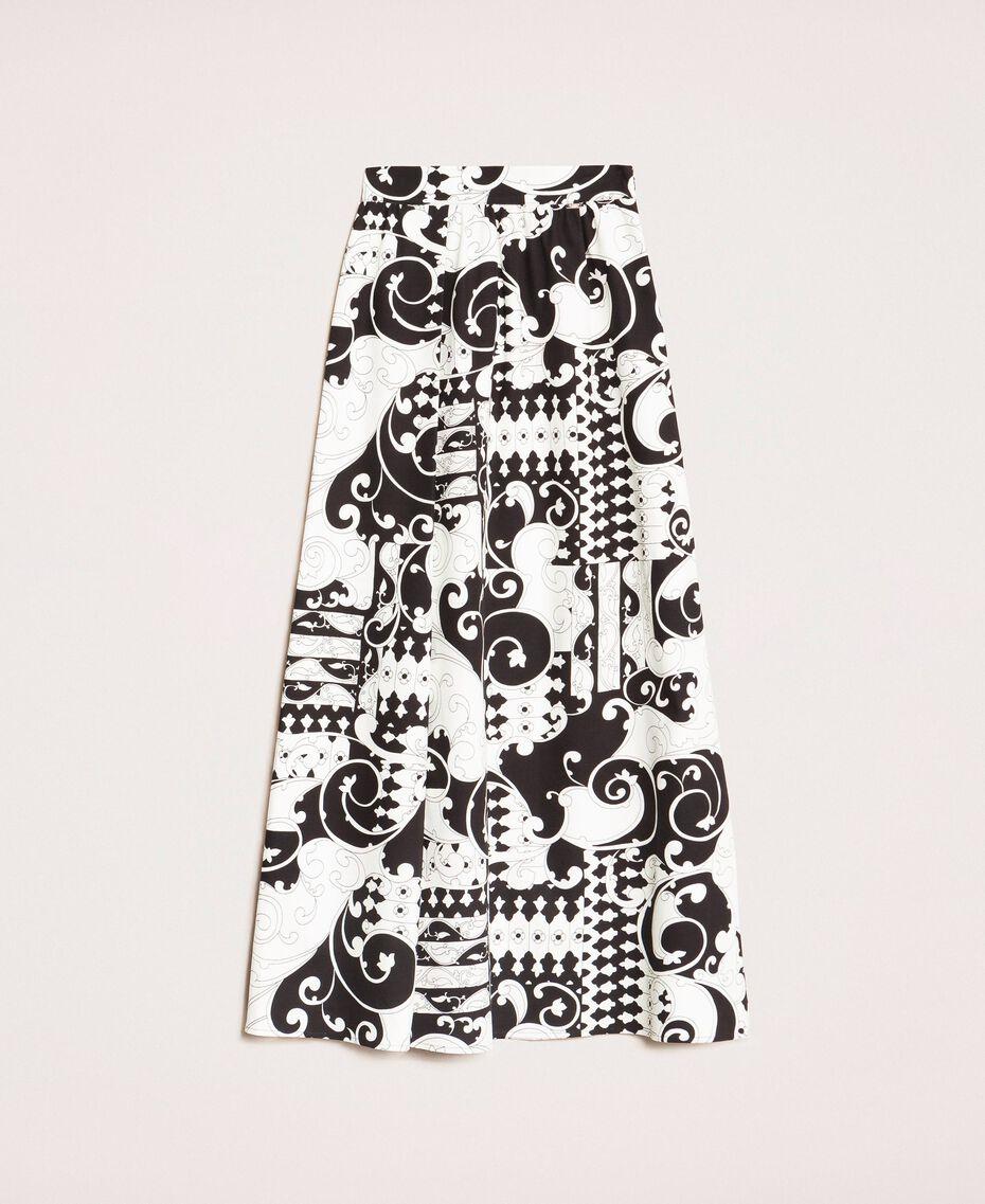 Jupe longue en toile imprimée Imprimé Liberty Blanc / Noir Femme 201ST213A-0S