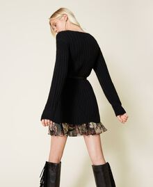 Vestido de mezcla de lana y combinación de flores Bicolor Negro / Estampado Indian Flower Negro Mujer 212TP3510-03