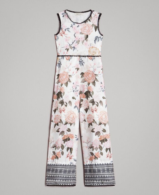 Floral viscose jumpsuit with lace print Ramage Butterfly Print Child 191GJ2523-01