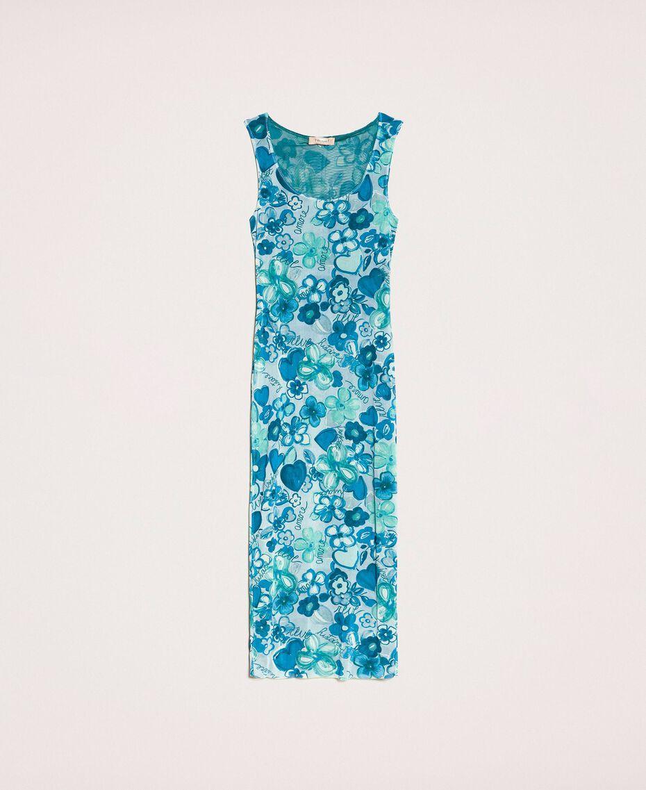 Floral tulle sheath dress Reve / Rose Print Woman 201TQ201F-0S