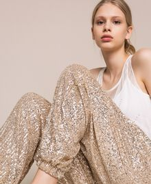 Sequinned joggers Gold Yellow Woman 201LB21GG-05