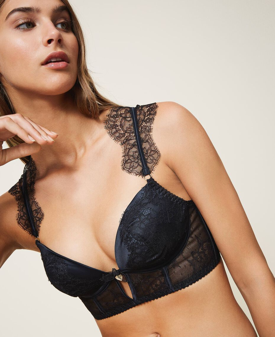 Lace and satin bustier Black Woman 202LL6H00-01