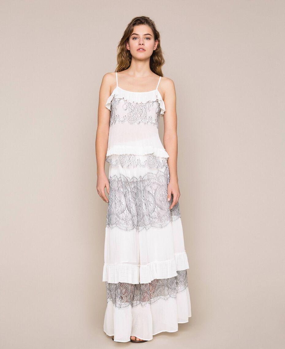 Jupe longue plissée avec dentelle bicolore Blanc Neige Femme 201TT2144-01