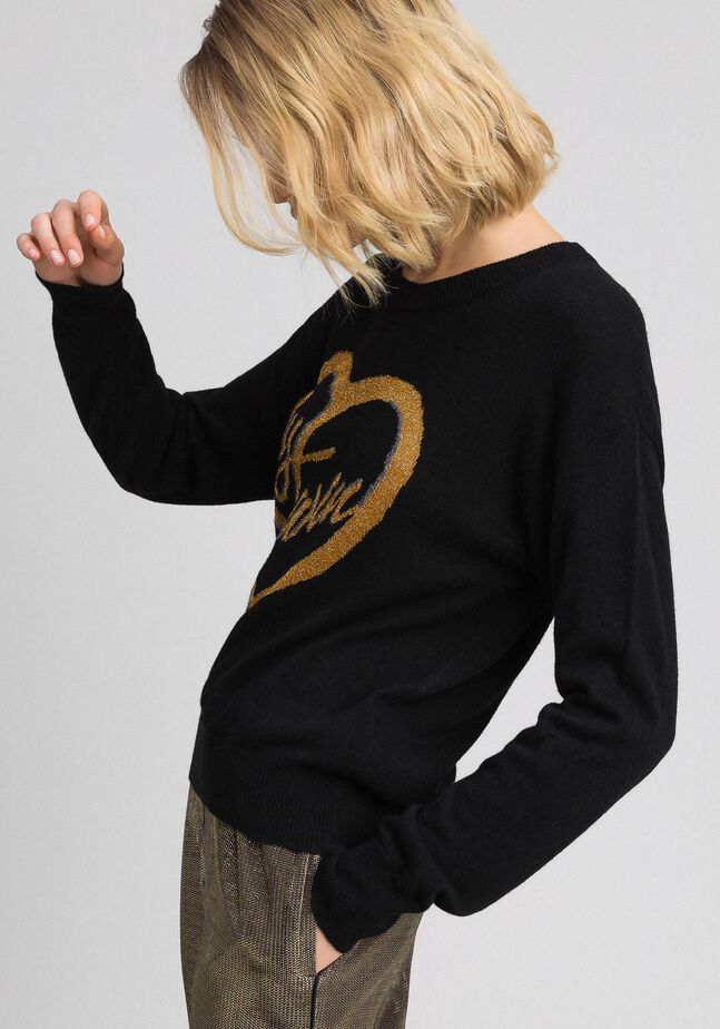 Jumper with jacquard inlay and lurex logo