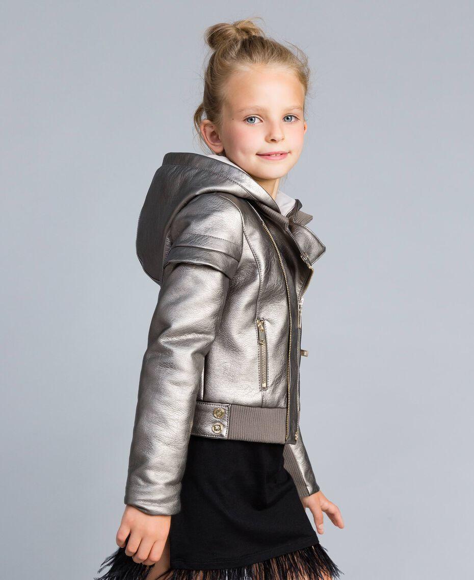Faux leather laminated jacket Olive Child GA82BN-02