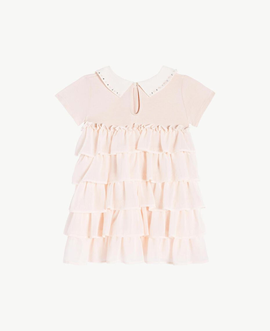 Kleid mit Stickerei Blütenknospenrosa Kind FS82B2-02