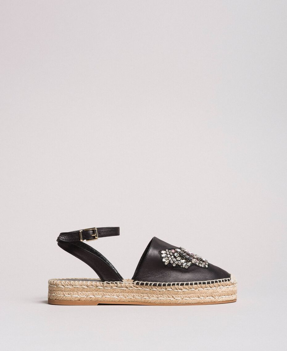 Leather espadrilles with jewelry butterfly Black Woman 191TCP10A-01