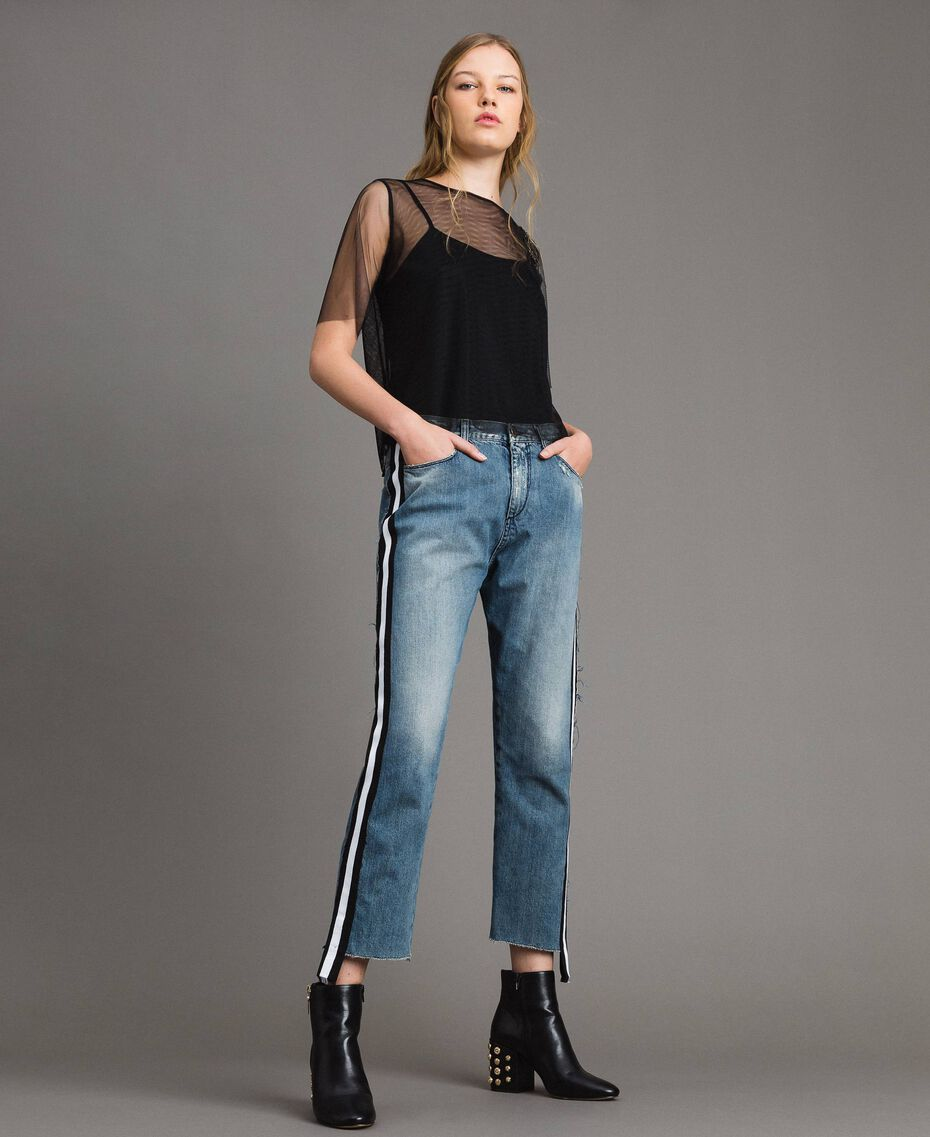Loose jeans with striped panels Denim Blue Woman 191MP2482-06