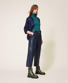 Pantalon cropped en similicuir Bleu Blackout Femme 202LI2GAA-03