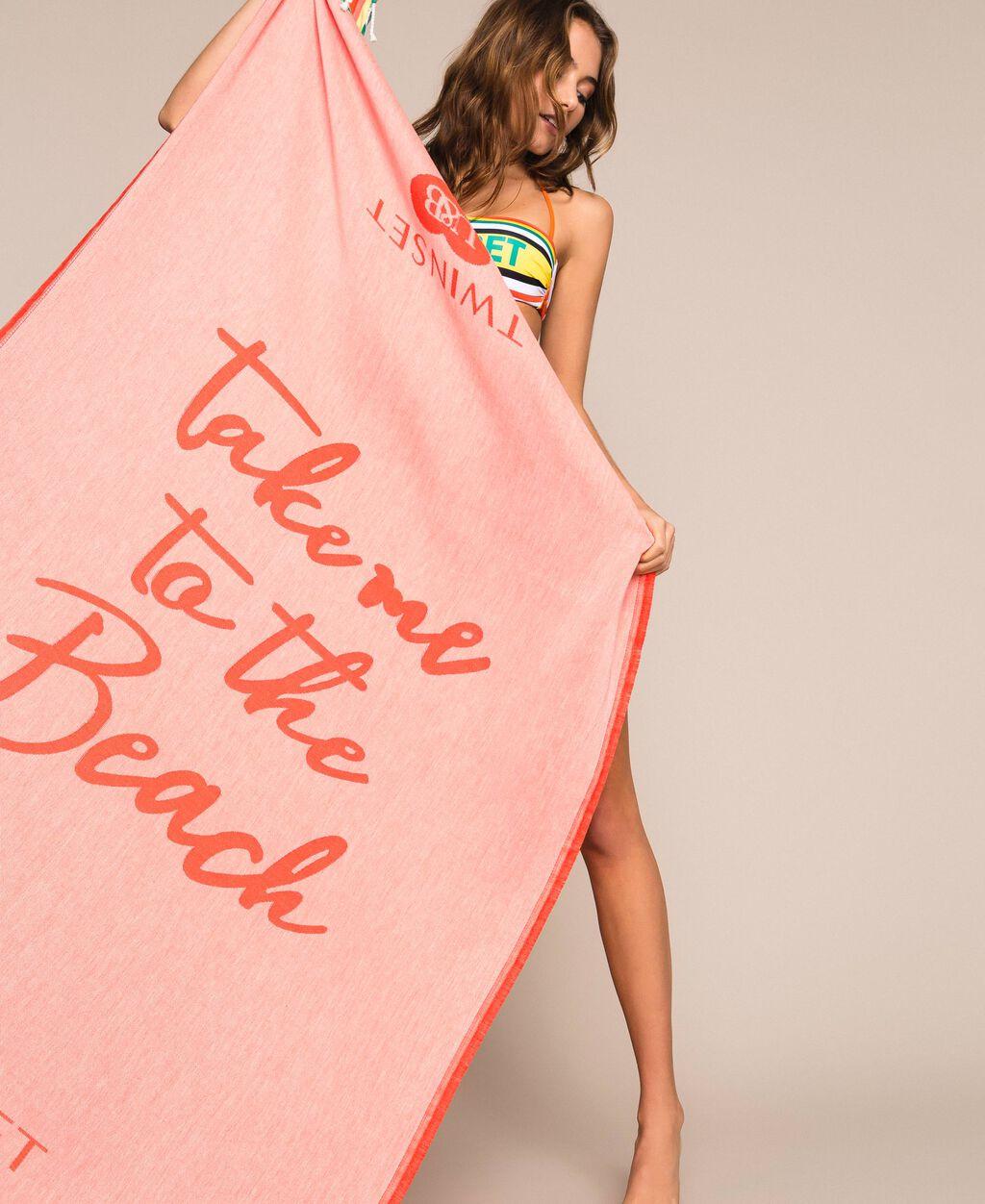 Jacquard beach towel with stripes