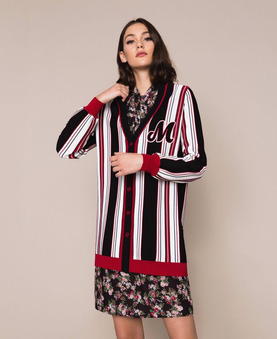 """Striped maxi cardigan Multicolour Vanilla / Black / """"Venetian"""" Red Woman 201MP3050-01"""