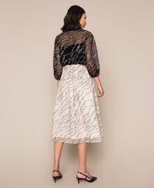 Blouse en tulle avec logo brodé Noir Femme 201ST2043-03