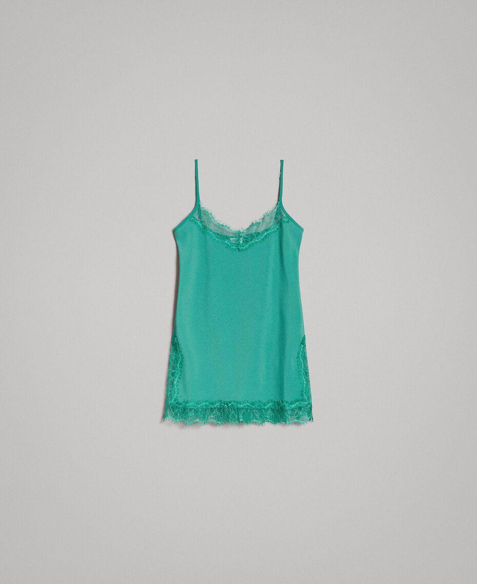 Chinakrepp-Top mit Spitze Grün Garden Frau 191ST2060-0S