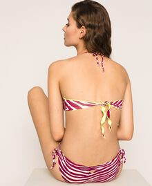 Bikini bottom with drawstring and print Flirty Rose Zebra Print Woman 201LBMG99-03