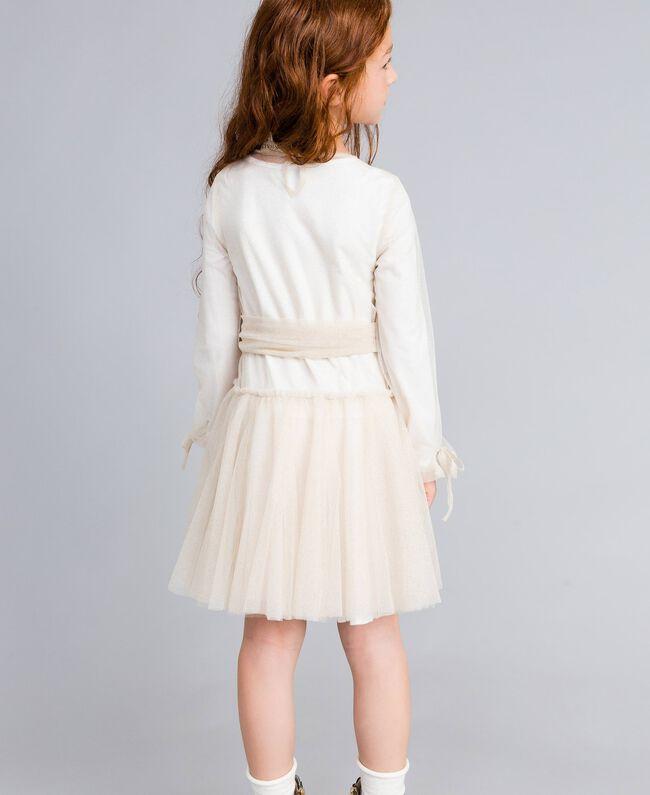 Kleid aus Lurextüll Zweifarbig Weiß / Goldlurex Kind GA82L1-04