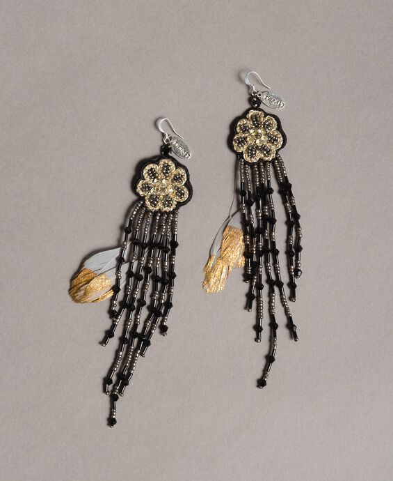Earrings with flower and beaded fringes