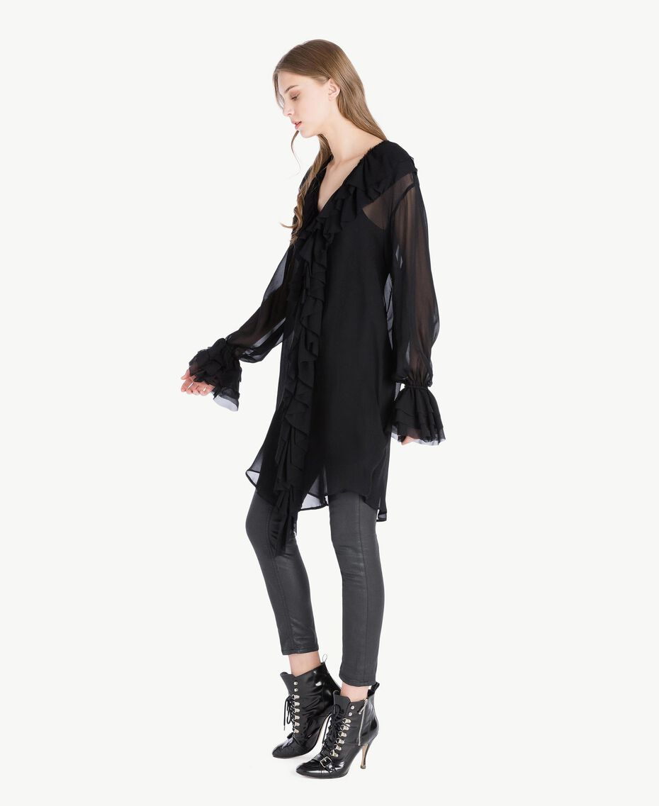 Ruffled tunic Black Woman PS823B-02