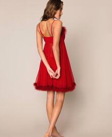Tulle babydoll dress with feathers Pomegranate Red Woman 201LL23XX-03